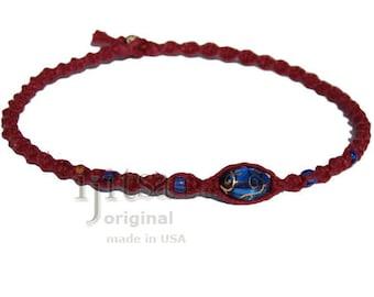 Burgundy twisted hemp neckalce with Blue oval glass beads