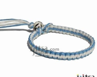Sky Blue and White Flat Hemp Surfer Bracelet or Anklet