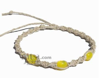 Natural twisted hemp yellow resin beads surfer style bracelet or anklet
