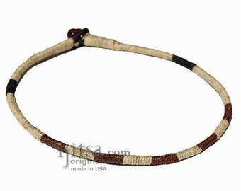 Leather necklace wrapped with natural, brown and black hemp *Now in 26 colors!
