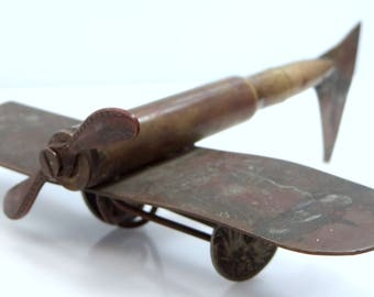 WWI Trench Art Brass Air Plane With German 1894-97 Coin Wheels