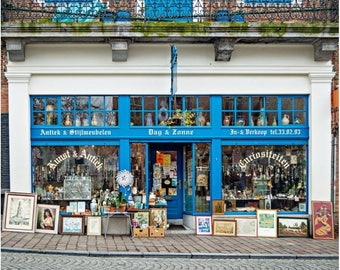 Blue Antiques Shop Photo on Canvas, Brugge Belgium, Europe Photography, Large Wall Art Canvas Gallery Wrap