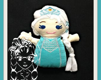ICe QUeeN PRiNCESS Lil Bit Doll 3D Plush Softie Toy ~ In the Hoop ~ Downloadable DiGiTaL Machine Embroidery Design by Carrie