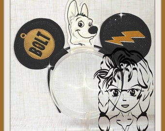 DOG WHITE Bolt (3 Piece) Mr Miss Mouse Ears Headband ~ In the Hoop ~ Downloadable DiGiTaL Machine Emb Design by Carrie