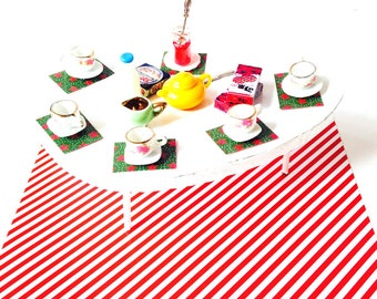 Miniature dinner table, dollshouse, 1:12 scale, handmade, design table for dolls
