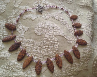 "Elephant Jasper Necklace Collar Swarovski Crystal Toggle Clasp 17"" Long Rare Stone ""Elephant's Memory"""