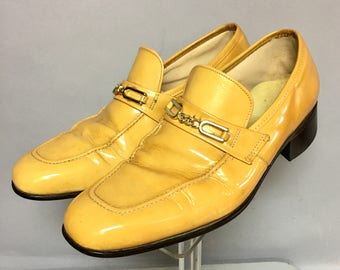 Fantastic 1970's GOLD Patent LEATHER Loafers, Mens DISCO Shoes, size 8 Mens : size 9 1/2 Womens