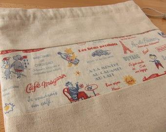 Cafe du Paris Drawstring Project Bag