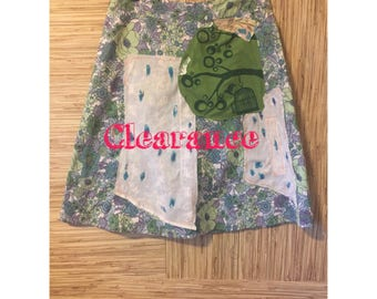 Tree print skirt-Upcycled floral cotton skirt-aline-tea stained appliques- hippie boho clothing-Alt indie funky skirt- Sz Small
