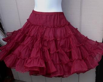 Vintage Wine Red Tier RUFFLE Petticoat crinoline SLIP Tutu Skirt / Can Can - New Wave madonna // Ladies size Lge - XL