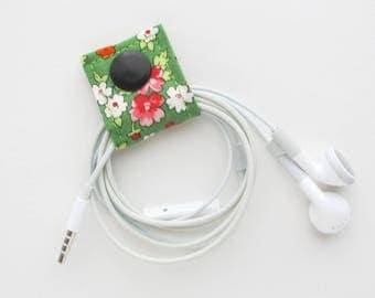 Extra Small Cord Keeper | Floral cotton print fabric earbud cord organizer holder for small cords and cables.