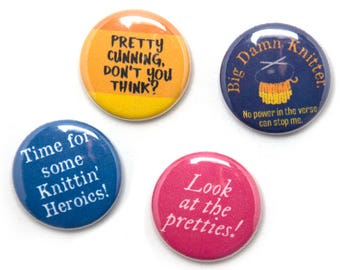 Firefly Knitter Theme Buttons, 1 inch pin back, Set of 4