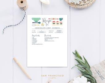Editable Recipe Sheets | Recipe Binder Insert | US Letter | Vintage Kitchen | Digital Files - PDF - Instant Download - DIY