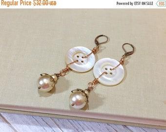 SALE Statement Earrings, Pearl Earrings, Vintage Mother of Pearl Button Earrings, Big Earrings, Long Earrings, Button Jewelry, KreatedByKell