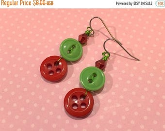 SALE Button Earrings, Christmas Jewelry, Holiday Red and Green, Xmas Earrings, Festive Earrings made with Vintage Buttons, KreatedbyKelly