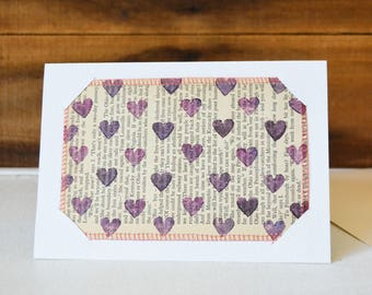 Happy Hearts - ultraviolet purple Postcard and Card 2-in-1 - Small Mixed Media Art Print on Vintage book Upcycled wall art