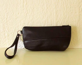 Black Leather Clutch Wristlet upcycled recycled relaimed leather