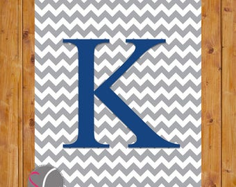 Chevron Monogram Digital Print Letter K Wall Art Nursery Art with Initial Grey Chevron Navy Alphabet  Nursery