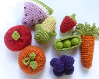 Wool Veggies and Fruits in a bowl  Waldorf ready to ship