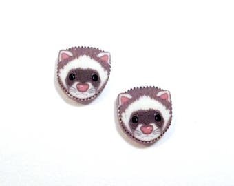 Handcrafted Plastic Ferret Head Earrings