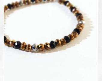 Gold Silver and Black Bracelet | Faceted Glass Bead Bracelet | Stretch Bracelet | Stackable Bracelet | Armcandy