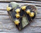 Ceramic Heart Pendant Textured and Hand Painted  Brown and Golden Buds by  Mary Harding