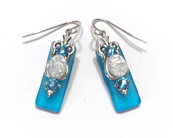 Stained Glass Earrings Caribbean Aqua with Glass Opal and Aquamarine Crystal Accents