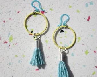 Tassel earrings, Hoop Earrings, Gift For Her, Boho Jewelry, Minimalist Earrings, Girlfriend Gift, Summer Jewelry, Bohemian Earrings, Color