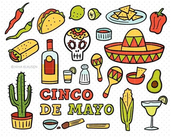 Doodle Cinco De Mayo Clip-Art / Hand Drawn Mexican Fiesta Artwork / C0008