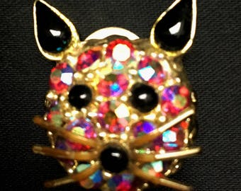 Vintage 1960s FAB Rhinestone and Enamel Cat Face Brooch Pin