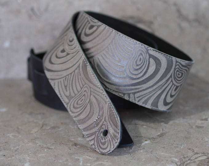 Silver Swirl Embossed Leather Guitar Strap