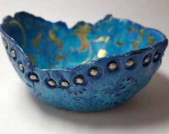 Paper Clay Bowl Azure Blue, Gold metallic Swirls