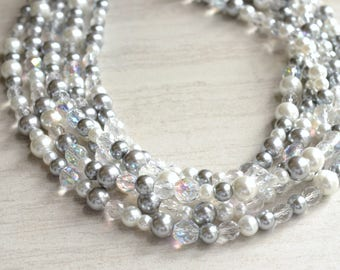 Melissa - White Clear Pewter Glass Pearl Bridesmaid Statement Necklace