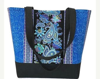 SALE Large Tote bag, Blue and black paisley, Purse, handbag, Black purse, blue purse, tote bag, handbags and purses