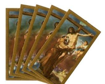 SALE 5pcs SAINT FRANCIS & Jesus Vintage Prayer Cards Miniature Italy