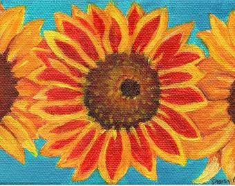 Sunflowers painting acrylic  4 x 6 original canvas, acrylic painting canvas art, sunflowers decor