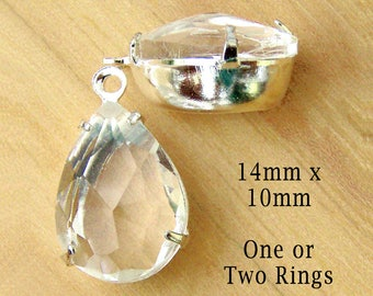 SALE - Clear Glass Beads - 14x10 Teardrop - Silver or Brass Settings - Rhinestones - 14mm x 10mm - Glass Gems - Jewelry Supply - One Pair