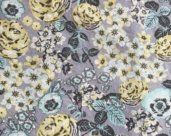 """NEW! """"Totally Totable"""" Weighted Lap Blanket - Adult or Child - Aqua Yellow Gray Flowers - Choose your weight and minky color"""