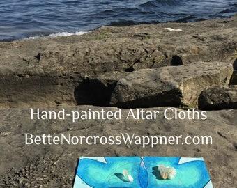 "Hand-Painted Altar Cloth - ""Vibrational Energy"""