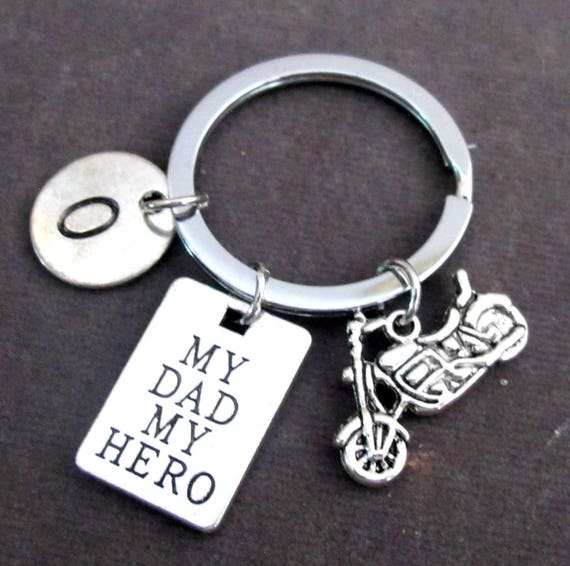 My dad my hero Personalized Dad Keychain,Father's Day Gift,Grandpa gift, Gift for Daddy from kids,Father Initial Keyring, Free Shipping USA