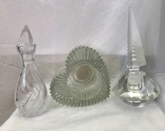Vintage Perfume Bottles Cut Glass Mid 19th Century and Avon Heart Glass Candle Holder  Free Priority Shipping