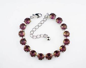 SUMMER SALE 3 Lilac Shadow Rhinestone Bracelets Lavender Violet Pink Swarovski Wedding Jewelry Bridesmaid Jewelry MADE To Order