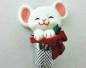 1980's Hallmark Lapel Pin - Mouse Thimble Lapel Pin - Retired Hallmark Cards - Christmas Holiday Jewelry - Seamstress Crafter Quilter Gift