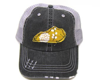 Kentucky Hat - Black and Gray Distressed Trucker Hat - Mustard Yellow Floral Applique - All States Available
