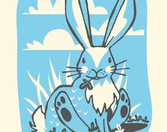 Rabbit - Screenprinted Art Print