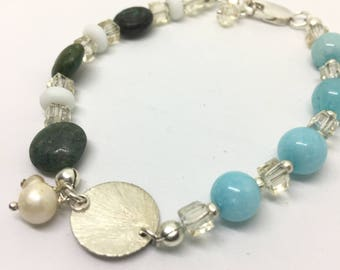 Amazonite, Turquoise, and Sterling Silver Beaded Bracelet