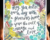generous courage - john o'donohue quote - 8x10 inch art print