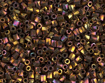 Miyuki 10/0 Twisted Hex Cut Metallic Gold Iris Seed Bead 10 grams