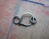 Hammered Antiqued Sterling Silver Clasp with Open Jump Ring - 1 clasp - 22mm