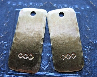SALE Antiqued Brass Diamond Stamped Rectangles - 1 Pair - 22mm in length